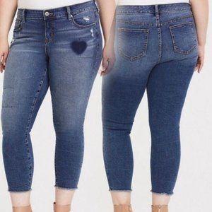 Torrid Skinny Ankle Jeans Cropped Distress Raw Hem